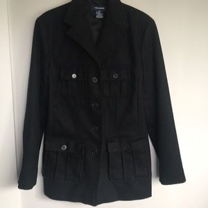 Black button down wool coat from the limited